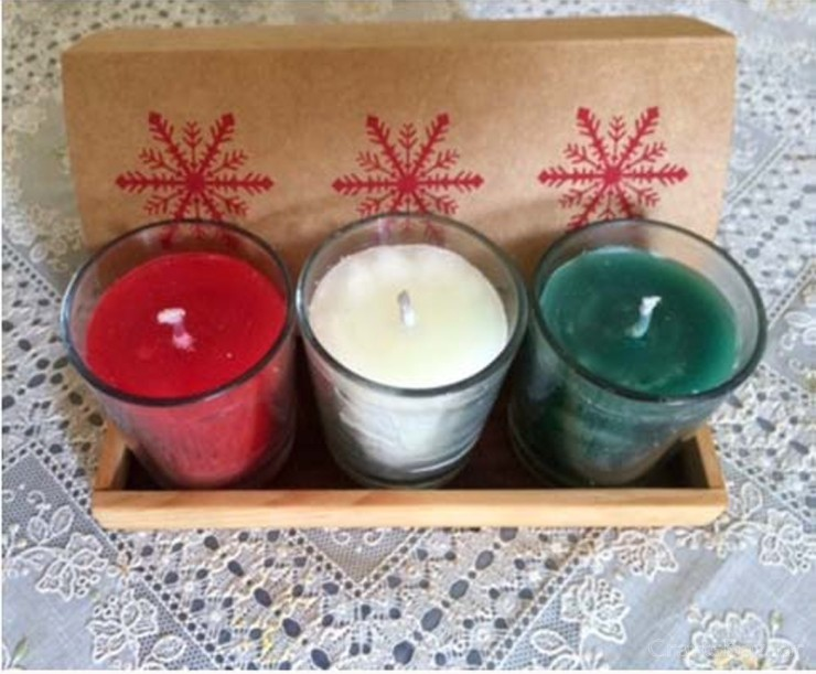 Off White, Red And Green GlassCandles.