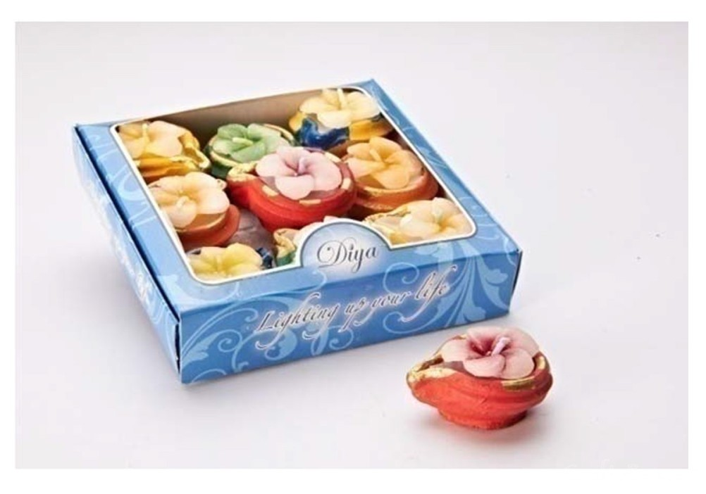 9 Button Diyas With Wax Flowers
