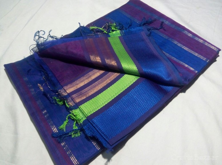 Blue Maheshwari Silk Saree