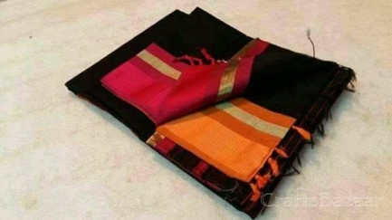 Black Maheshwari Silk Saree With Red Border