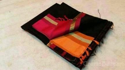 Black Maheshwari Silk Saree With Red Border