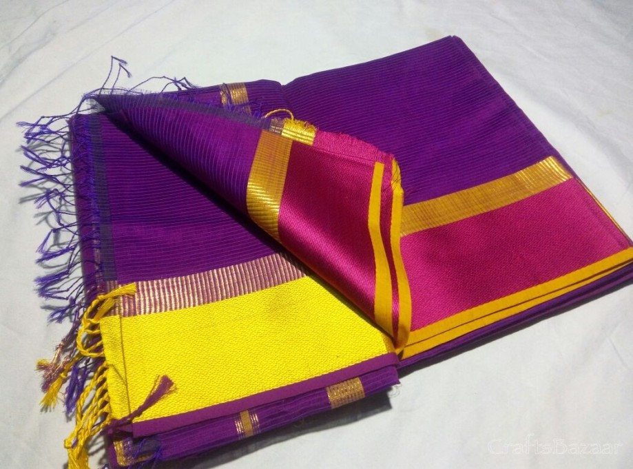 Violet Maheshwari Silk Saree With Purple Border