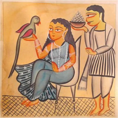 Rani With Parrot Kalighat Painting ; West Bengal