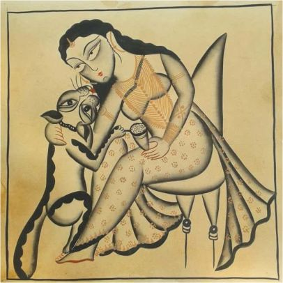 Women With A Cat Kalighat Painting ; West Bengal
