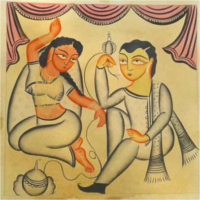Celebrating Together Kalighat Painting ; West Bengal