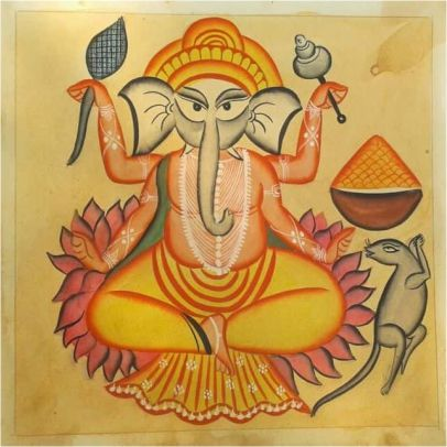 Ganesha On A Lotus Kalighat Painting ; West Bengal