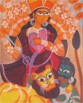 Mahishasura Mardini Kalighat Painting ; West Bengal