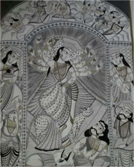 Kali Mata Kalighat Painting ; West Bengal