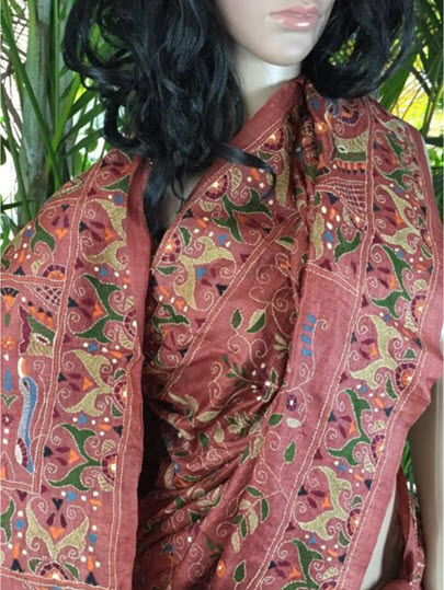 The Shantineketan Collection Rasberry-Pink Kantha On Rich Tussar Silk