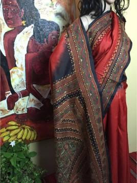 The Shantineketan Collection Tomato Red Silk; Contrasting Black Kantha