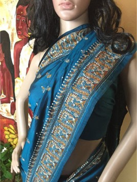The Shantineketan Collection Peacock-Blue Kantha With Rich Border