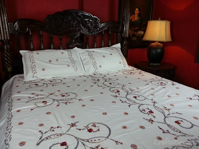 Floral Tribute Calcutta Red On White; Double Cotton Bed Cover