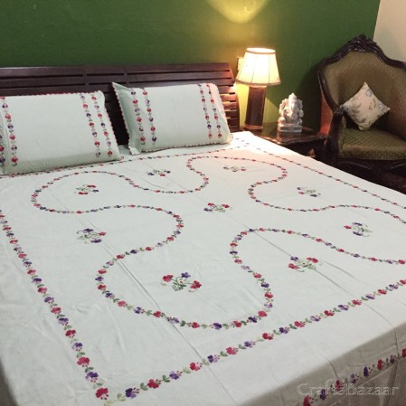 Floral Tribute Calcutta Red On Cream; Double Bedcover
