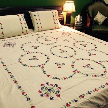 Floral Tribute Calcutta Maroon And Green On Yellow; Double Bedcover