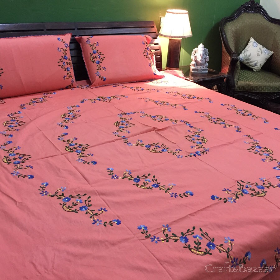 Floral Tribute Calcutta Strwaberry Pink; Double Bedcover