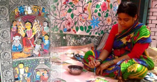 Meet-the-Master Series-Shreemati-Mamani-Chitrakar-Kalighat-Painting-West Bengal-Aparna-Challu-jpg (2)