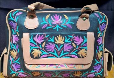 Designer Aari Work Leather Handbag;Purple