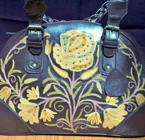 Black Leather Designer Handbag; Kashmir